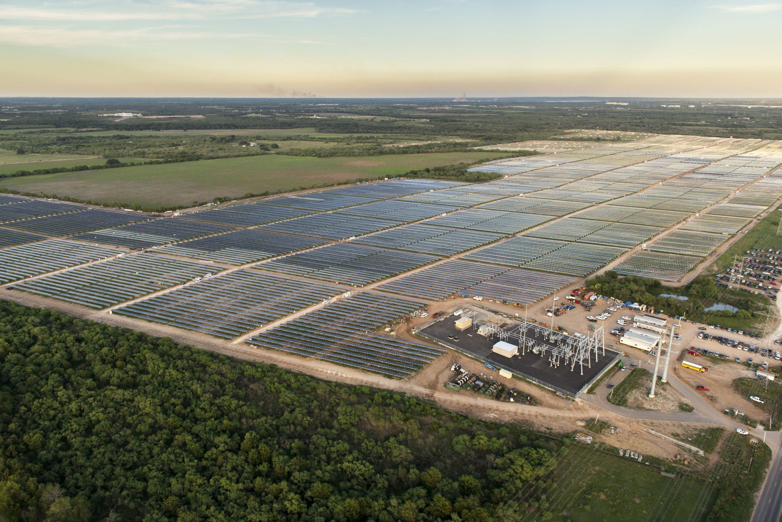An aerial view of Alamo 1 solar farm located south of Loop 410 in San Antonio. Photo courtesy of OCI Solar Power.