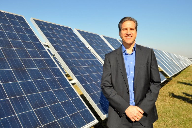 CPSE Executive Vice President Cris Eugster at Alamo 1, the largest solar farm in Texas. Photo by Iris Dimmick.