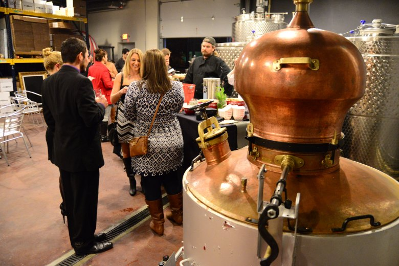 This Serbian-made hand-hammered copper still from Serbia is the centerpiece of the distillery. Photo by Page Graham.