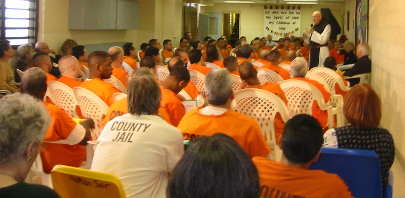 Fr. Thomas Keating conducts mass held at the Bexar County Adult Detention Center during a men's A.C.T.S. retreat. Photo courtesy of Chrysalis Ministries.