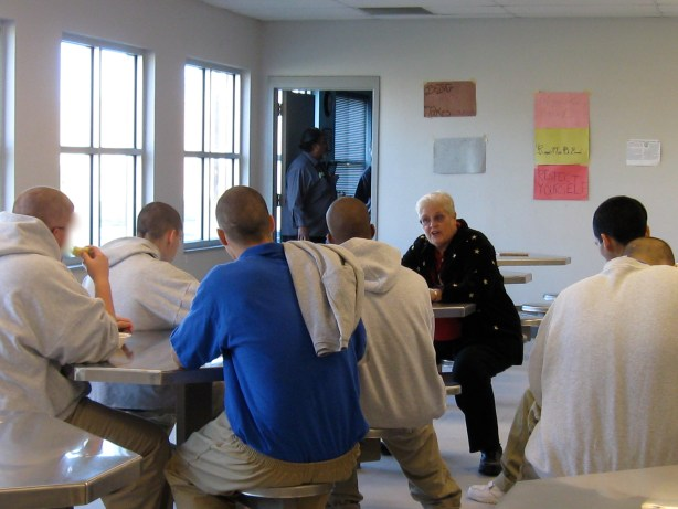 Sr. Kathleen Eggering speaks to a group of juveniles at the Cyndi Taylor Krier Juvenile Correctional Treatment Facility during an Epiphany Retreat.