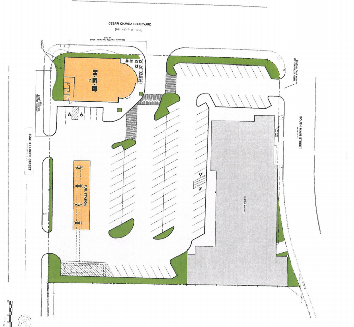 Preliminary site plan (dated June 2, 2013) for H-E-B's proposed downtown grocery.