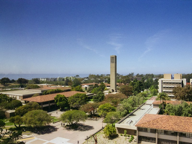 UC Santa Barbara's Storke Tower and the campus and the ocean, as seen from the eighth floor of Davidson Library. Photo credit: Hyun Yu.