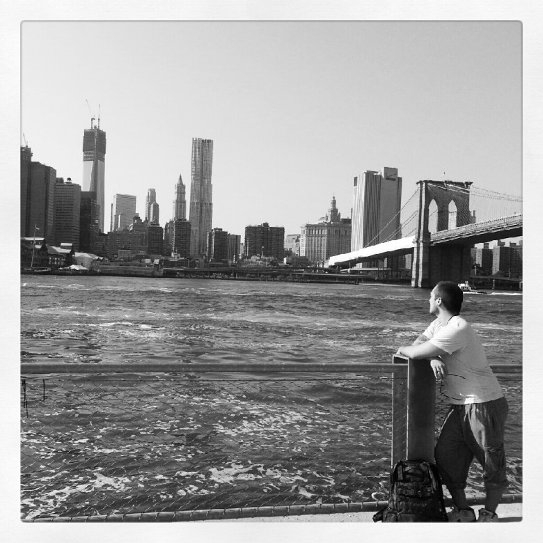 Gazing at the new World Trade Center - DUMBO, Brooklyn