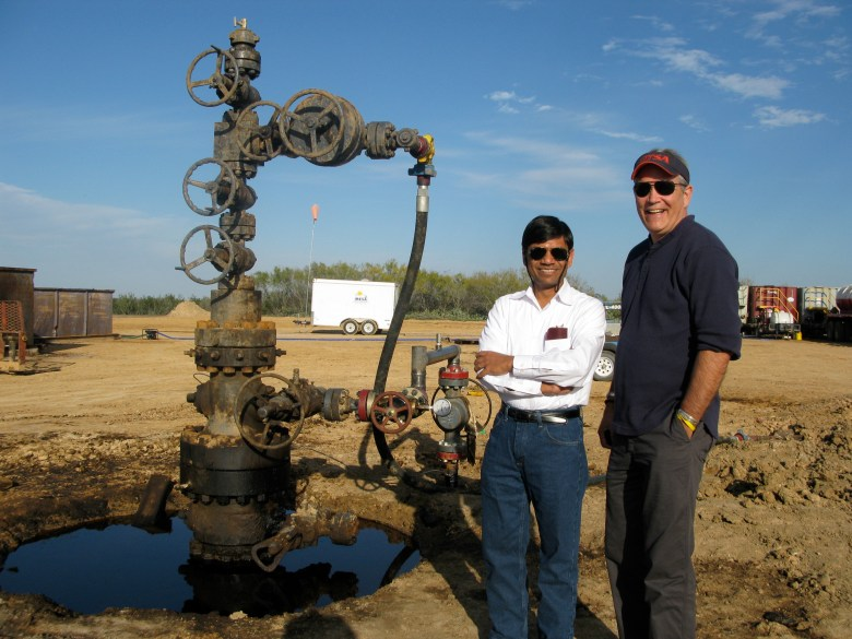 Dr. Mauli Agrawal and Dr. Les Shephard visit a site at the Eagle Ford Shale to determine how UTSA can help improve research in the fracking industry. Photo courtesy of UTSA.