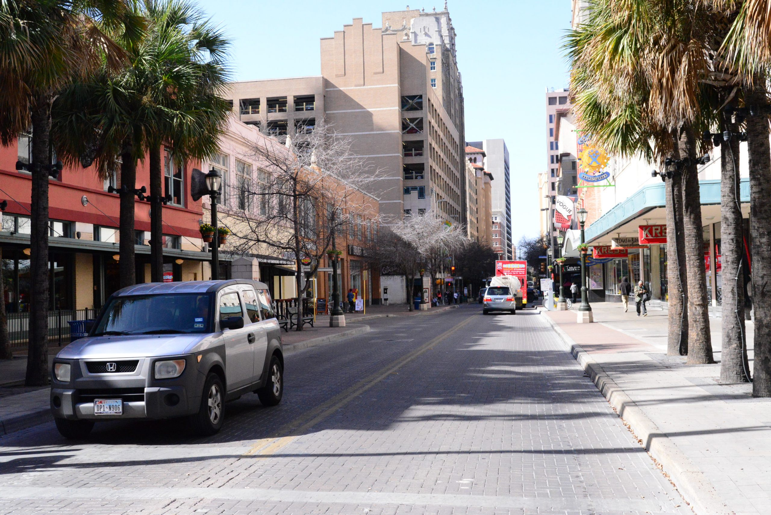 Sidewalks along Houston Street were widened during the Triparty Project during the 1980's. Photo by Page Graham.