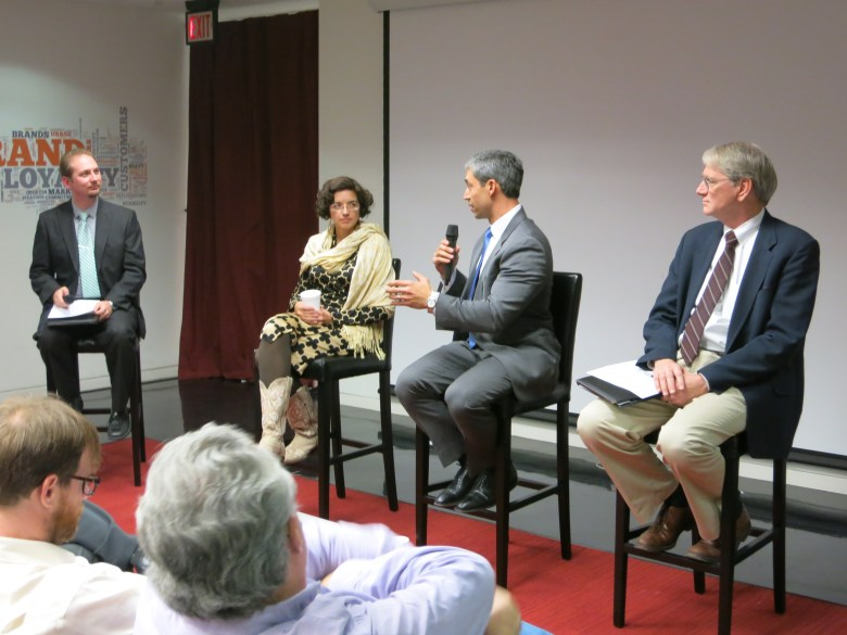 Host Michael Manning with panelists former councilwoman Leticia Ozuna, district 8 councilman Ron Nirenberg and Wayne Wedemeyer (left to right). Photo by Miriam Sitz.