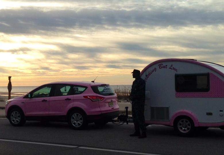 The pink rig on the road to San Antonio. Photo courtesy of Alison Miller