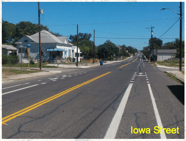 For Iowa Street, the existing street was wide enough to install new bicycle lanes without reducing the number of vehicular traffic  lanes. Photo courtesy of the City of San Antonio.