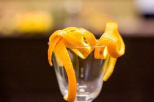 Orange peel garnish at the Sexydranks seminar. Photo by Garrett Heath.