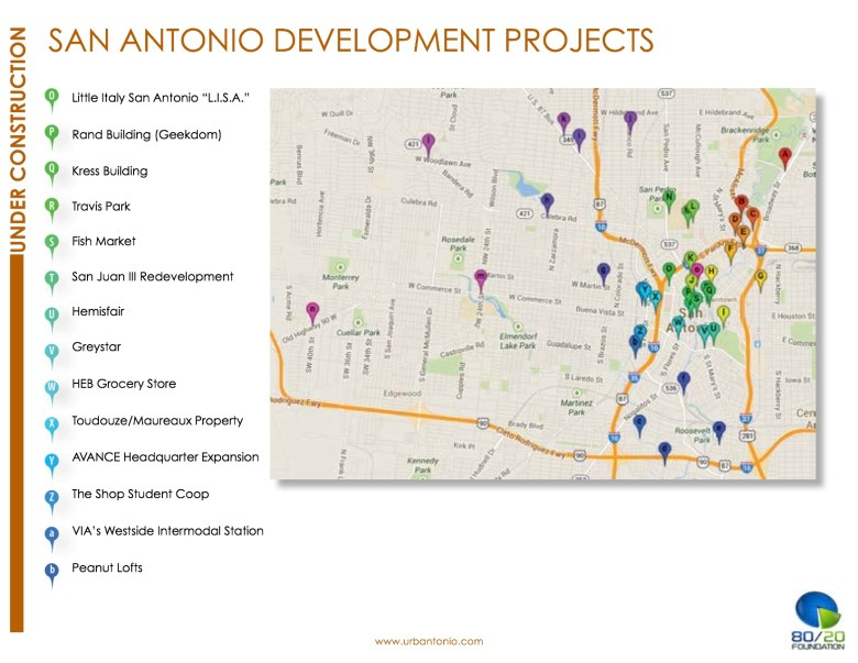 """One of three project maps in The 80/20 Foundation Report, """"San Antonio: Under Construction."""""""