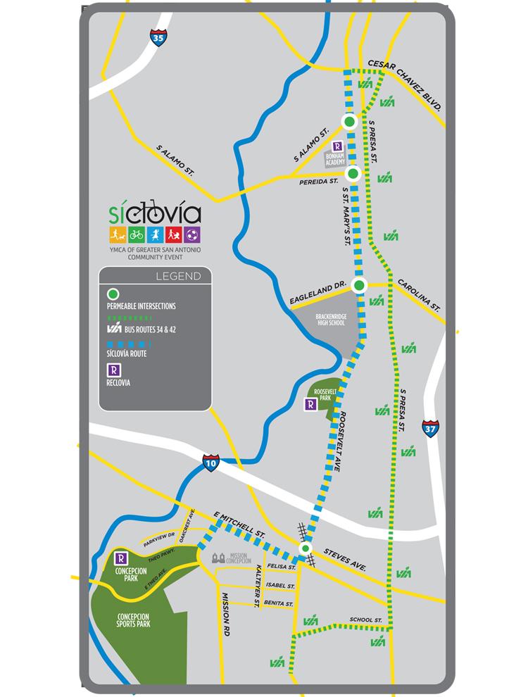 Síclovía 2014 route map. Click to enlarge.