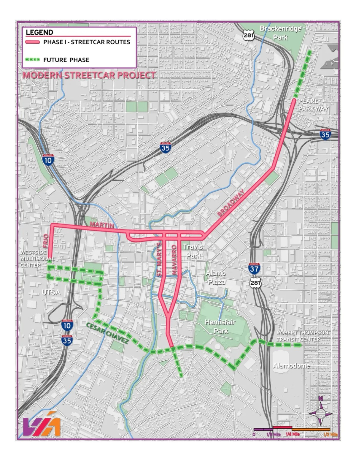 Phasing map for the Modern Streetcar project. Courtesy of VIA Metropolitan Transit.