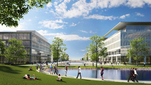 View of Canal District looking south to Delaware River. Rendering courtesy of Neoscape for Robert A.M. Stern Architects.