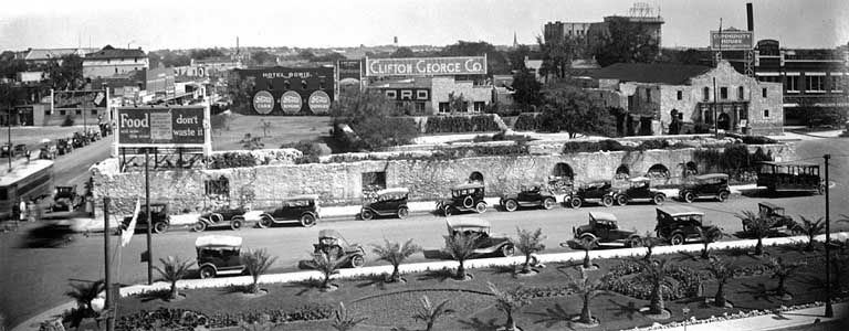 Alamo Plaza circa 1919. Photography Collection Harry Ransom Humanities Research Center University of Texas at Austin.