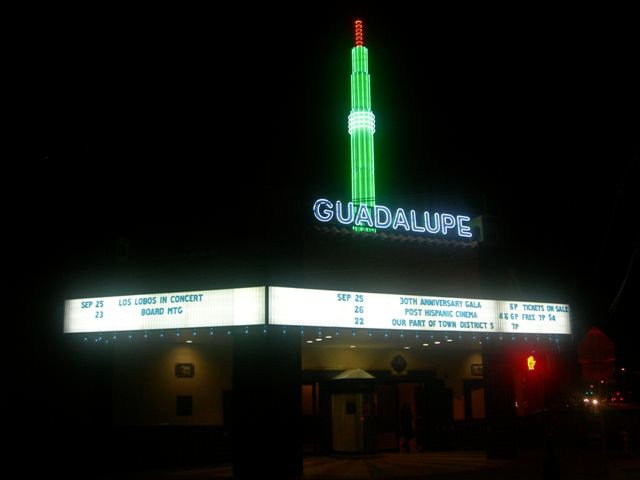 The Guadalupe Cultural Arts Center lit up at night. Courtesy Photo.