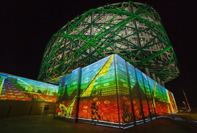 Xavier de Richemont's video paintings light up the Gran Museo del Mundo Maya in Merida, Mexico.