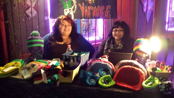 Sisters of Yarnage: Non-traditional yarnists who make various hand crocheted knick-knacks and accessories. Photo by Shirley Parodi.