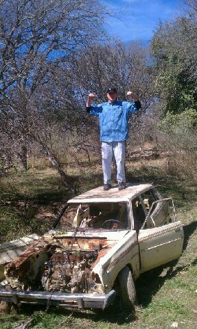 This 1970's-vintage Datsun was recovered from Leon Creek. Photo courtesy Basura Bash.