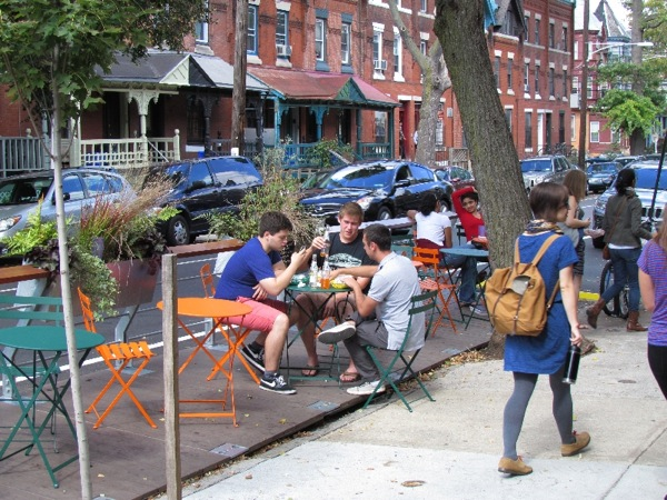 Parklet on 44th and Spruce in Philadelphia. Courtesy of www.phila2030.org.