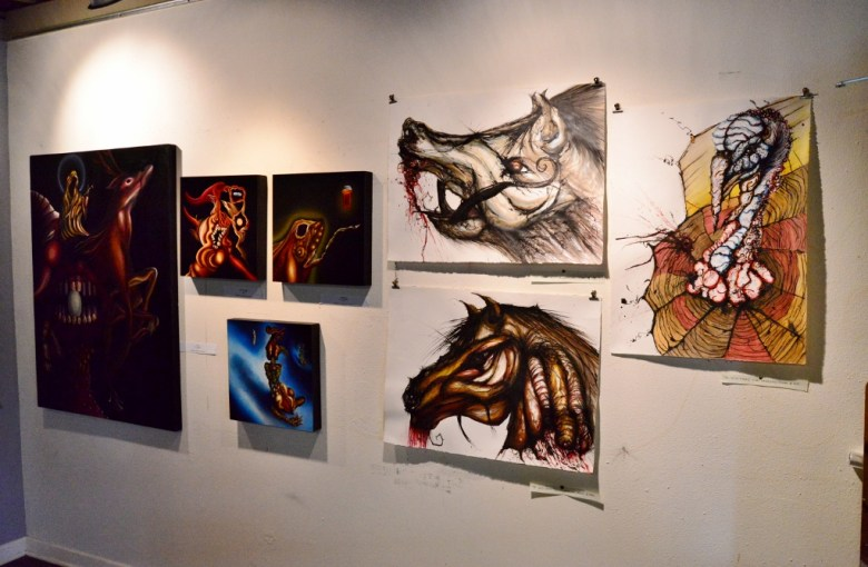 Works by Alejandro Padilla displayed in his studio. Photo by Page Graham.