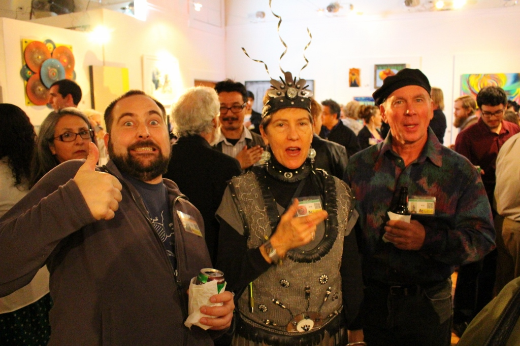 Artists Tom Turner, Dale Jenssen and Stacy Parten enjoying themselves at the On and Off Fred opening party. Photo by Page Graham.