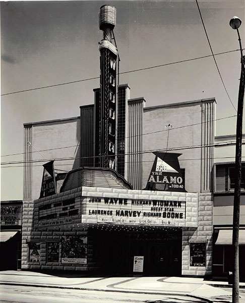 The legendary John Wayne hosted the world premiere of his movie The Alamo at the Woodlawn Theatre in 1960. Courtesy photo.