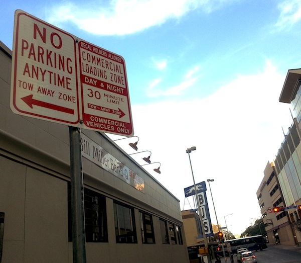 The Bill Miller's, no parking and commercial loading zone sign across from Restaurant Gwendolyn. Photo by Iris Dimmick.
