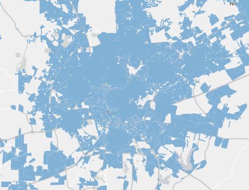National Broadband Map view of San Antonio.