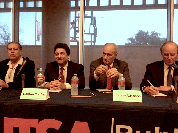 Bexar County Judge candidates, left to right: Gerard Ponce (R), Carlton Soules (R), Commissioner Tommy Adkisson (D), and Judge Nelson Wolff (D). Photo by Robert Rivard