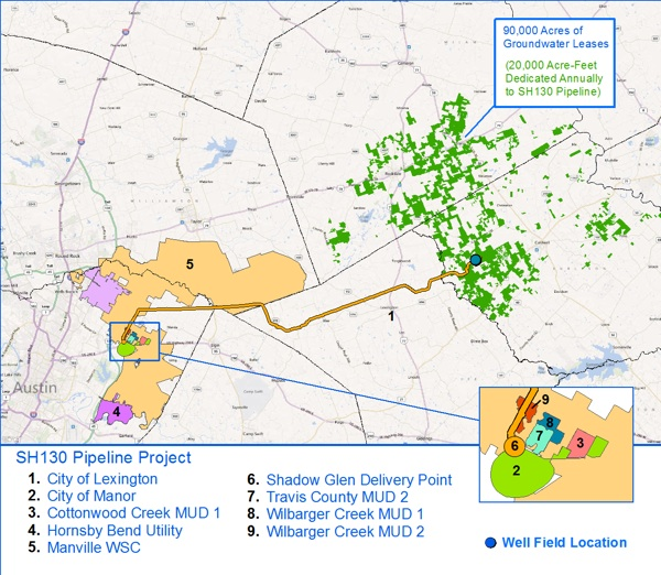 BlueWater 130 Project owns permits to produce and transport 20,000 acre-feet of water through a 53 mile, 30-inch diameter pipeline from Burleson County to a delivery point in Manor, Texas. Courtesy graphic.