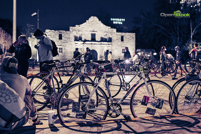 Downtown Highlife Bicycle Club in January 2014 in downtown San Antonio. They depart from the Alamo the last Friday of each month at 9:30 p.m. Photo by Kara Gomez/Open Book Studio.