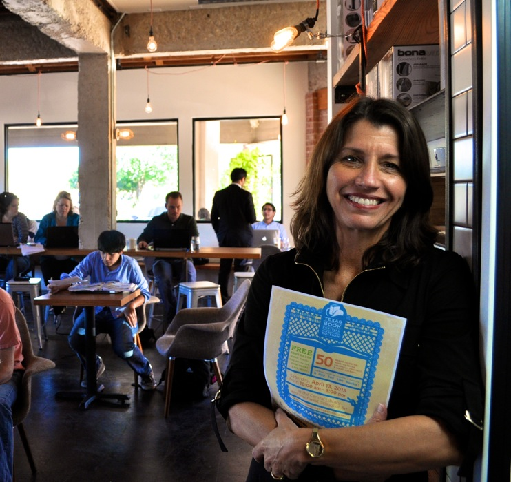 San Antonio Book Festival Director and Co-Founder Katy Flato poses for a photo at local coffee before the 2013 festival. Photo by Iris Dimmick.