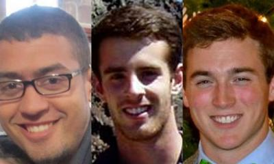 (From left) Carleton College students Paxton Harvieux, 21, of Stillwater; Michael Goodgame, 20, of Westport, Conn.; and James Adams, 20, of St. Paul, died in a collision Friday, Feb. 28, 2014, about a mile north of Northfield on Minnesota Highway 3.