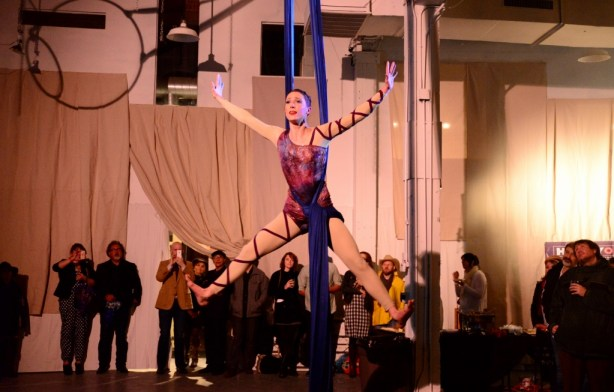 Aerial Horizon performance during the Artist Foundation's Moveable Art Party. Photo by Page Graham.
