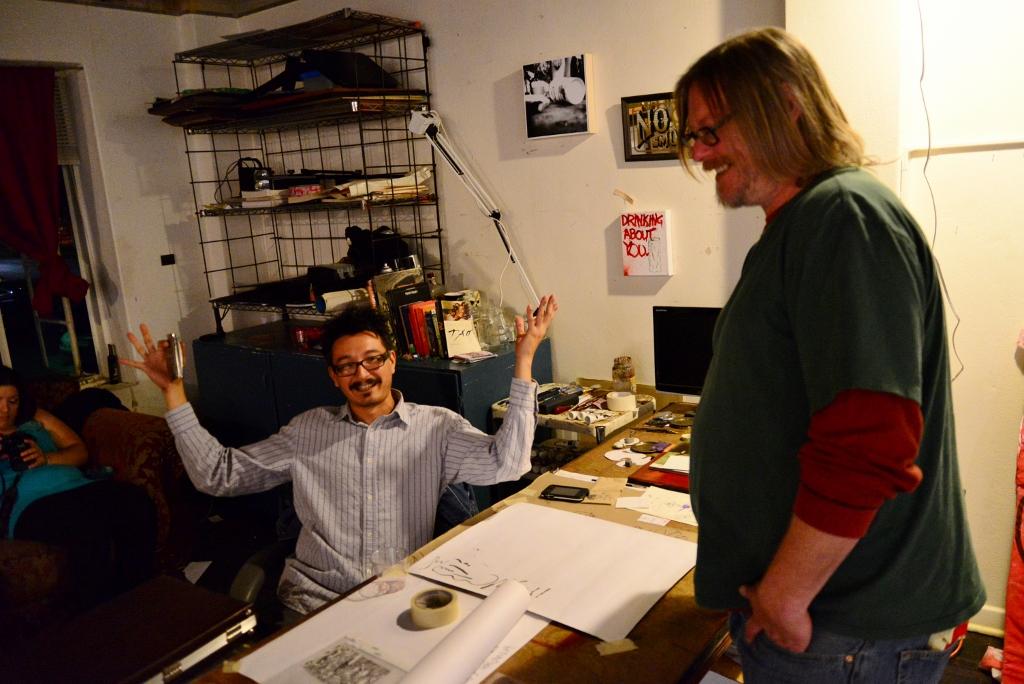 Albert Alvarez (left) at his studio. Photo by Page Graham.