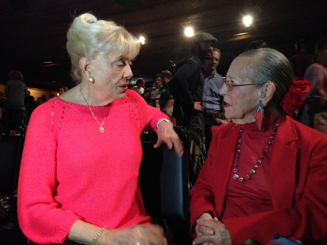 Head Judge Emmy Cleave and yogi luminary, Esther Vexler chat during the 2014 National USA Yoga Asana Championship at the Aztec Theatre. Photo courtesy of USA Yoga Federation.