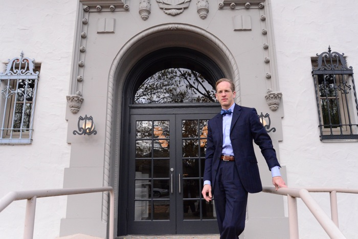 Leland Stone, proprietor of Stone Standard, in front of the Roosevelt Library. Photo by Page Graham