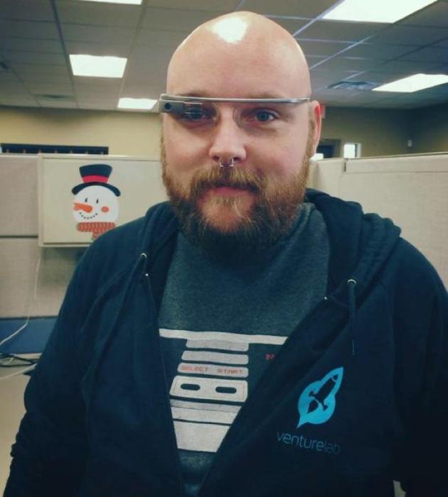 """Maker"" Mark Barnett tries out Google Glass. Photo courtesy of Systemic."