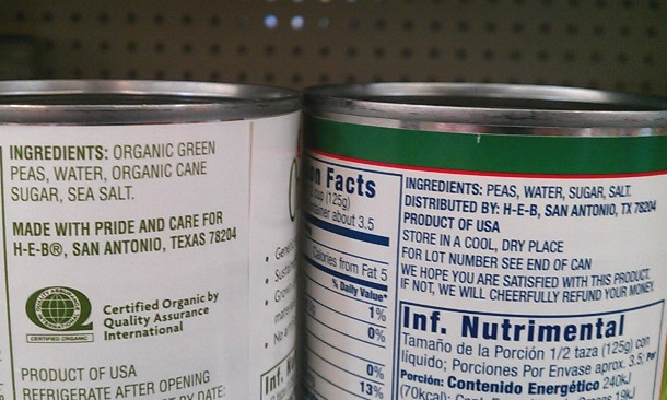 Nutrition information specifies organic ingredients. Photo by Andrew Moore.