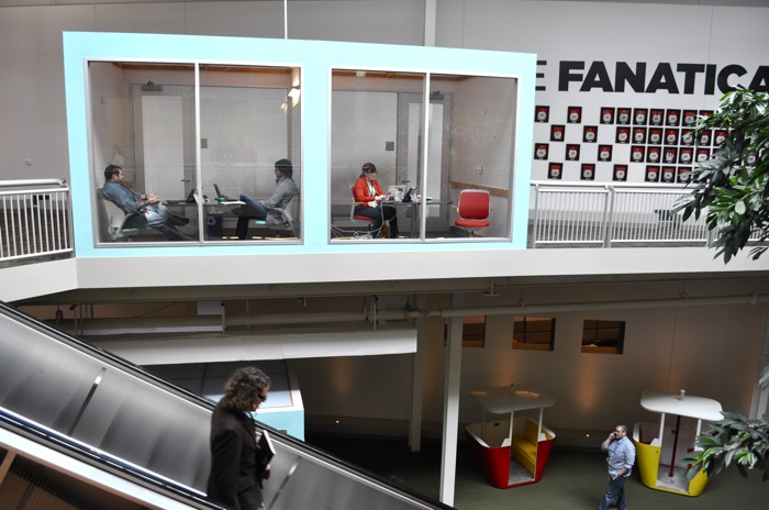 Rackspace occupies the former Windsor Park Mall. The company has transformed the dead mall into a modern workplace that includes sectioned off conference rooms, escalators, and is home to the old gondolas from Brackenridge Park. Photo by Iris Dimmick.