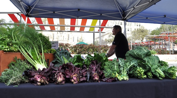 The SA Food Bank bounty at the Main Plaza Farmers Market. Photo by Iris Dimmick.