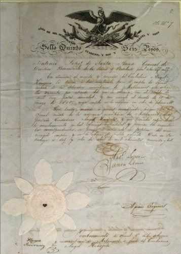 Santa Anna's letter dated April 1843 for Angel Hinojosa. Photo courtesy of the City of San Antonio.