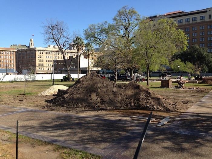 Dirt is piled and ready for placement in Travis Park. Photo by Jackie Calvert