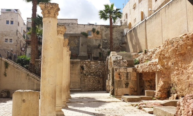 """The """"Cardo"""" ruins of the main commercial street in the Old City of Jerusalem from the Roman era. Photo by Winslow Swart."""