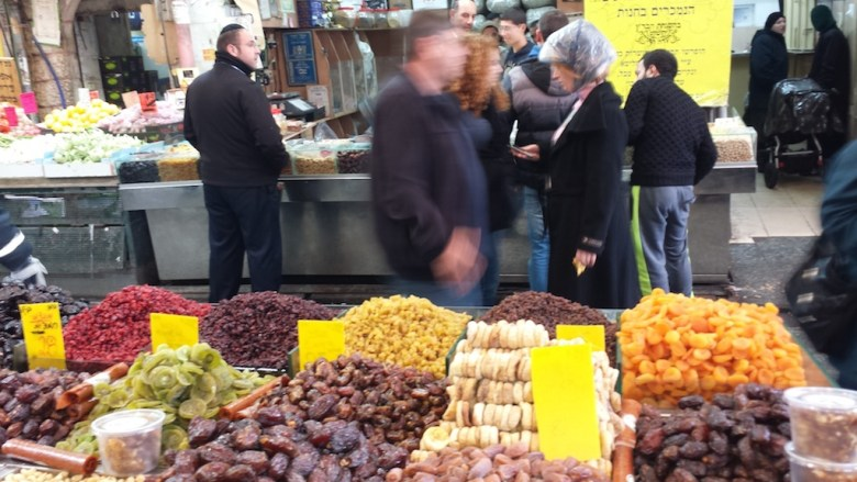 """The Yehuda Menahe """"shuk"""" or open air market place in the center of Jerusalem. Photo by Winslow Swart."""