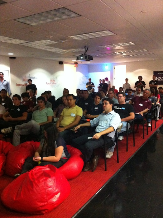 The 3 Day Startup participants listen carefully to instructions during the 2012 event at Geekdom. Photo by Miriam Sitz.