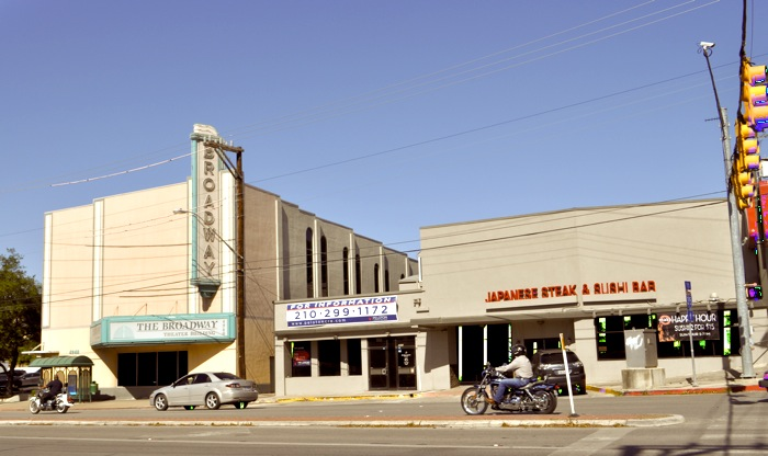 The unoccupied Broadway Theatre Building on Broadway Street and surrounding empty buildings. Photo by Iris Dimmick.