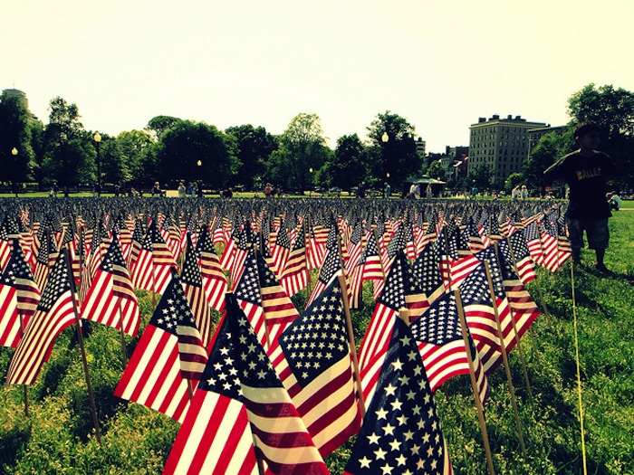 American flags on Memorial Day in Boston. Photo by Flickr user Matt Kieffer (creative commons).
