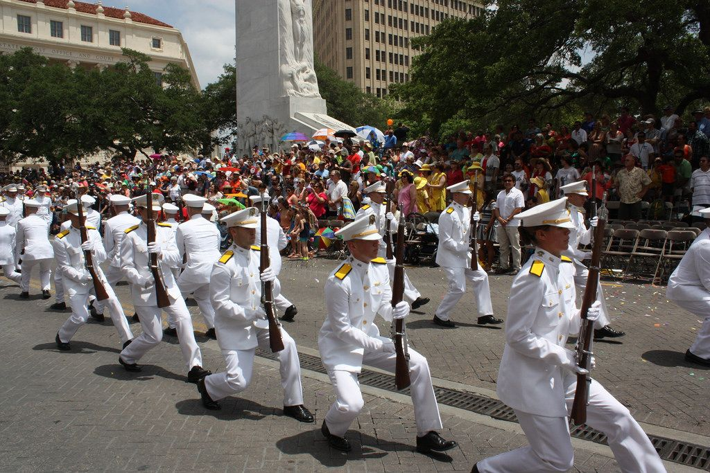 Cadets from the marine corps (Corpus Christi) perform while at the Battle of Flowers Parade. April 25, 2014, Photo by Kay Richter.